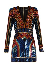 Balmain V Neck Sequin Embellished Mini Dress Multi