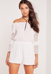 Missguided Petite Crepe And Lace Long Sleeve Playsuit White