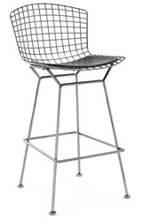 Knoll Bertoia Barstool With Seat Pad K24217 Black Vinyl Polished Chrome Multicolor