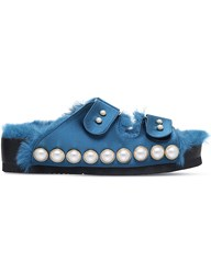 Suecomma Bonnie Pearl Embellished Suede Sandals Teal