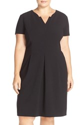 Tahari Plus Size Women's Short Sleeve Pleated Fit And Flare Dress