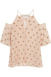 Temperley London Jolie Sequin Embellished Georgette Blouse Baby Pink