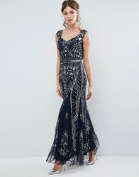 Frock And Frill Plunge Back Embellished Maxi Dress Navy Navy