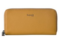 Lipault Paris Plume Elegance Leather Zip Around Wallet Mustard Wallet Handbags Yellow