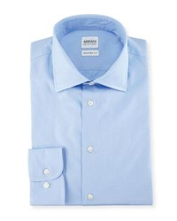 Armani Collezioni Modern Fit Poplin Dress Shirt Blue