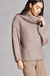 Forever 21 Ribbed Turtleneck Sweater Taupe