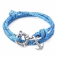 Anchor And Crew Blue Noir Clyde Rope Silver Bracelet