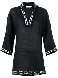 Tory Burch Split Neck Tunic Top Black
