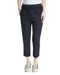 Brunello Cucinelli Drawstring Waist Windowpane Cropped Pants Navy