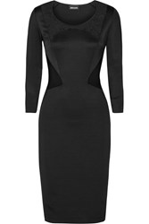 Just Cavalli Lace Paneled Stretch Jersey Dress Black