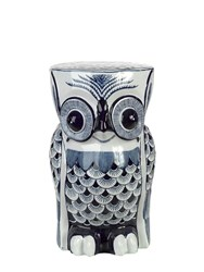 Pols Potten Owl Porcelain Stool Blue White