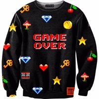 Aloha From Deer Game Over Sweater Black