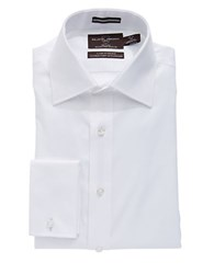 Black Brown Regular Fit Solid French Cuff Dress Shirt White