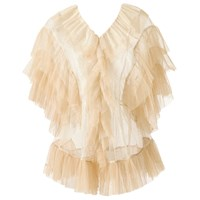 Supersweet X Moumi Tulle Blouse In White And Beige White Neutrals