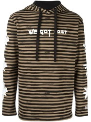 Blood Brother Multi Print Striped Hoodie Brown