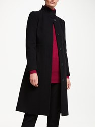 John Lewis Fit And Flare Funnel Long Coat Black