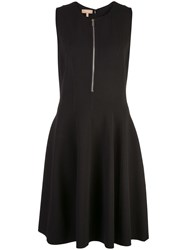 Michael Kors Collection Zip Front Flared Dress Black