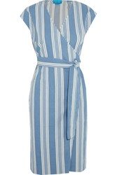 Mih Jeans M.I.H Frankie Striped Cotton Chambray Wrap Dress Blue