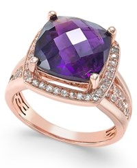 Macy's Amethyst 7 Ct. T.W. And White Topaz 2 5 Ct. T.W. Ring In 14K Rose Gold Plated Sterling Silver