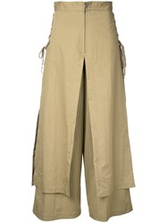 G.V.G.V. Lace Up Layered Wide Trousers Women Cotton Nylon 36 Brown