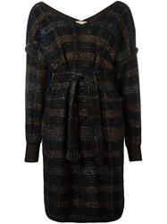 Yves Saint Laurent Vintage Belted Sweater Dress Black