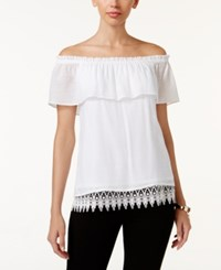 Thalia Sodi Off The Shoulder Peasant Top Only At Macy's Bright White