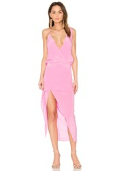 Michelle Mason Asymmetrical Midi Dress Pink