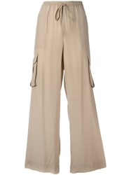 P.A.R.O.S.H. Cargo Pocket Palazzo Pants Women Silk S Nude Neutrals