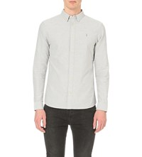 Allsaints Hungtingdon Cotton Twill Shirt Dark Gull Grey