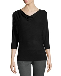 Neiman Marcus Drape Neck Knit Sweater Black