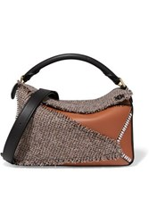 Loewe Puzzle Medium Leather And Tweed Shoulder Bag Brown