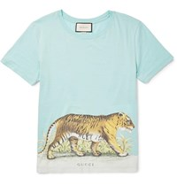 Gucci Slim Fit Distressed Printed Cotton Jersey T Shirt Sky Blue