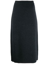 Pringle Of Scotland Side Slit Knitted Skirt Grey