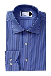Lorenzo Uomo Long Sleeve Trim Fit Track Stripe Wrinkle Free Dress Shirt Blue