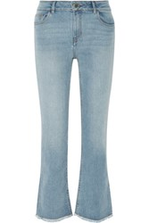 Maje Paxi Faded High Rise Bootcut Jeans Light Denim