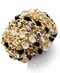 Styleandco. Style And Co. Gold Tone Metallic Bead Woven Stretch Bracelet Jet