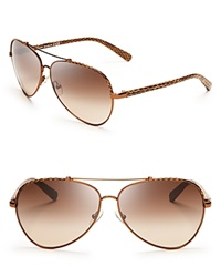 Tory Burch Signature Aviator Sunglasses Brown Printed Snake