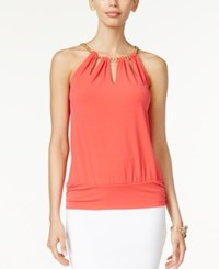 Thalia Sodi Chain Neck Cutout Halter Top Only At Macy's Hibiscus Bloom