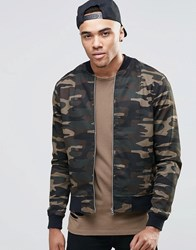 New Look Bomber Jacket In Camo Print Green Pattern