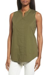 Eileen Fisher Women's Stretch Organic Cotton Classic Collar Tunic Olive