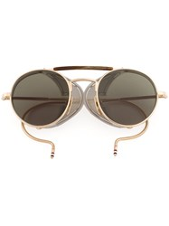 Thom Browne Eyewear Round Framed Sunglasses Acetate 12Kt Gold Glass Metallic