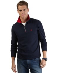 Nautica Big And Tall Quarter Zip Front Fleece Navy