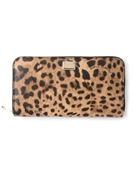 Dolce And Gabbana Leopard Print Zip Wallet Brown