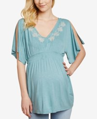 Jessica Simpson Maternity Flutter Sleeve Babydoll Blouse Mineral Blue