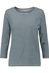 Current Elliott The Gameday Striped Cotton Jersey Top Midnight Blue