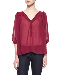 T Bags Sheer Chiffon Button Front Blouse Wine
