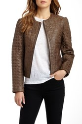 Whet Blu Quilted Genuine Leather Jacket Brown