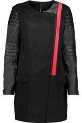 W118 By Walter Baker Cortney Asymmetric Faux Leather Paneled Woven Coat Black