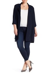 Bobeau Mid Length Woven Jacket Plus Size Blue