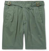 Rubinacci Manny Pleated Stretch Cotton Twill Shorts Green